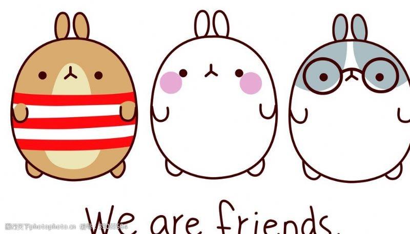韩国卡通 molang兔子图片