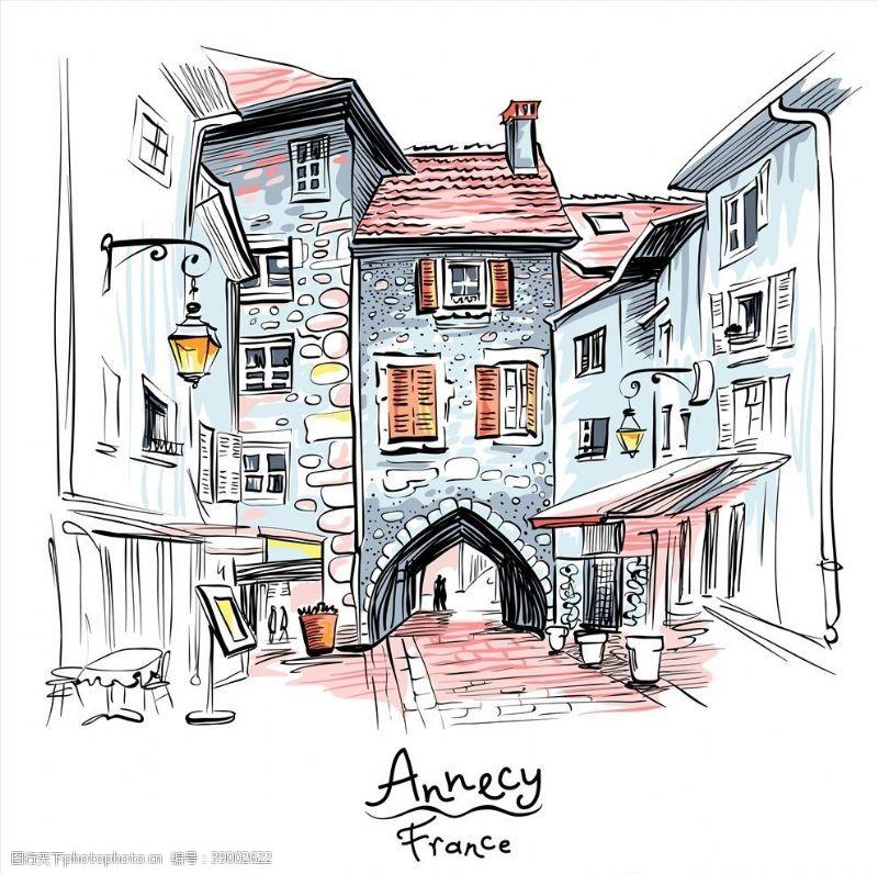 手绘欧洲城市图片