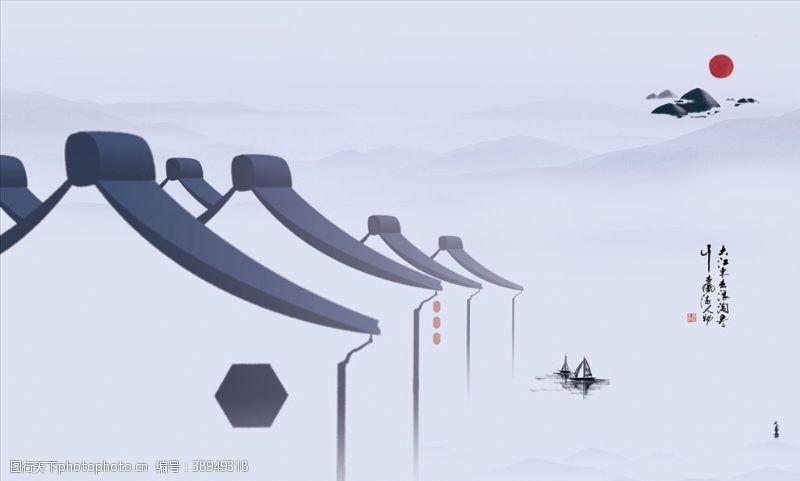 水墨画微派建筑江南水乡图片