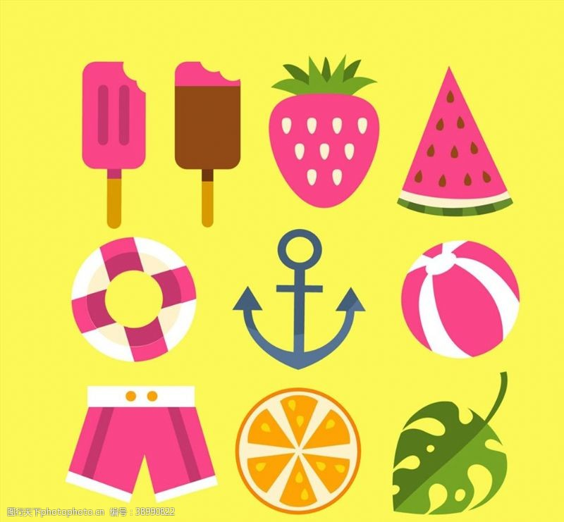 彩色夏季元素矢量图片