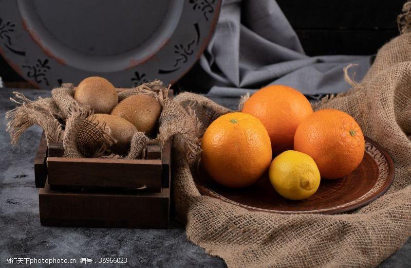橙子猕猴桃水果背景素材图片