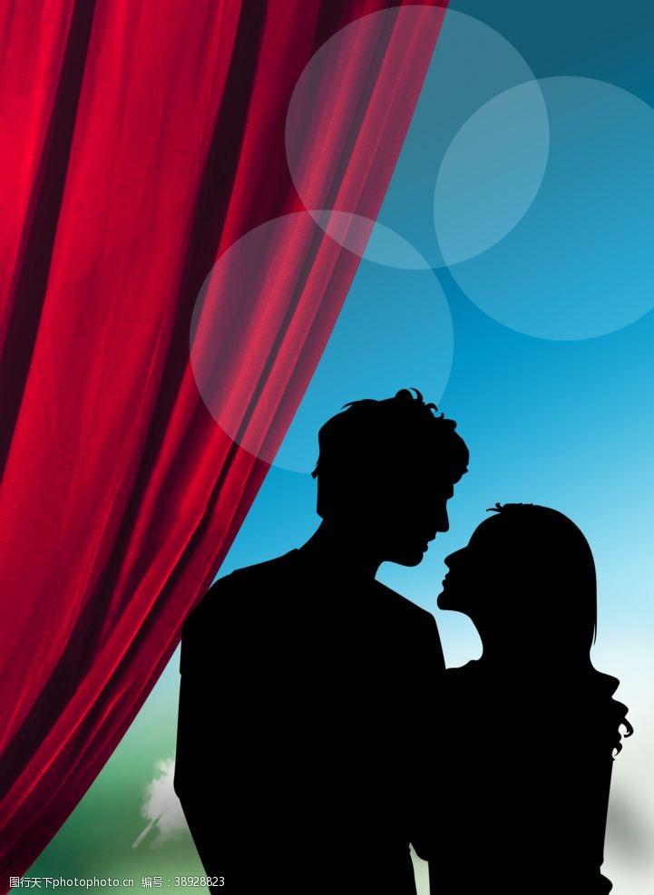 生活人物 接吻红色窗帘图片