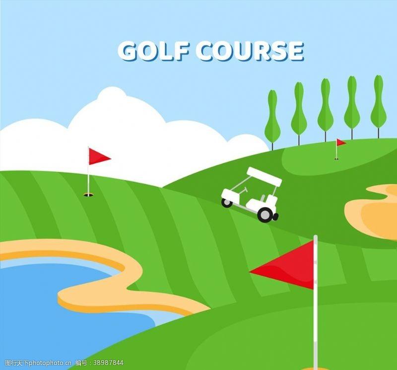绿色高尔夫球场图片