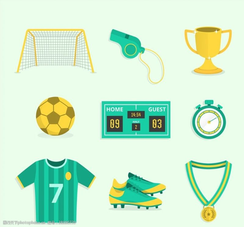 记分 绿色足球元素图片