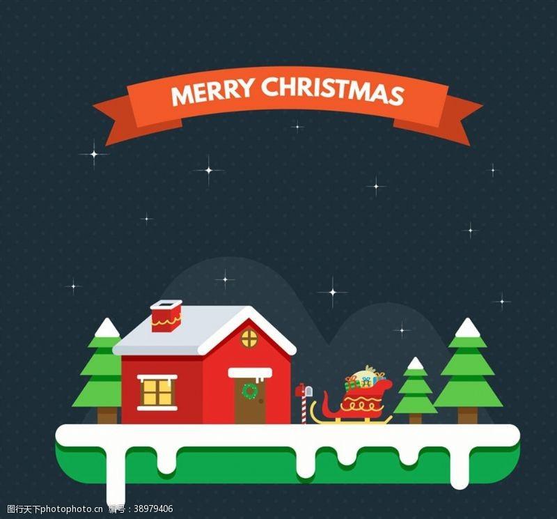 圣诞木屋和雪橇图片