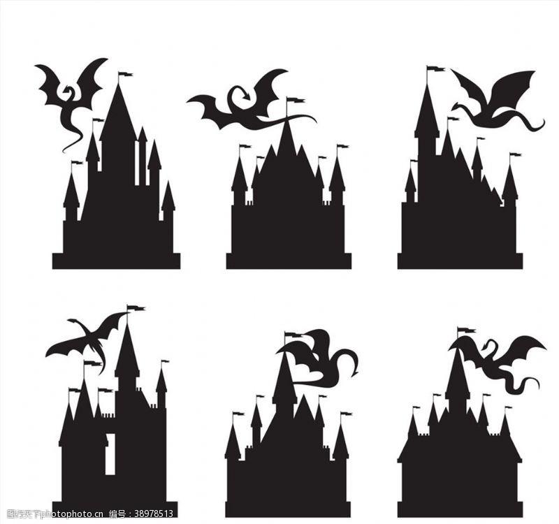 欧洲 古堡和龙剪影图片