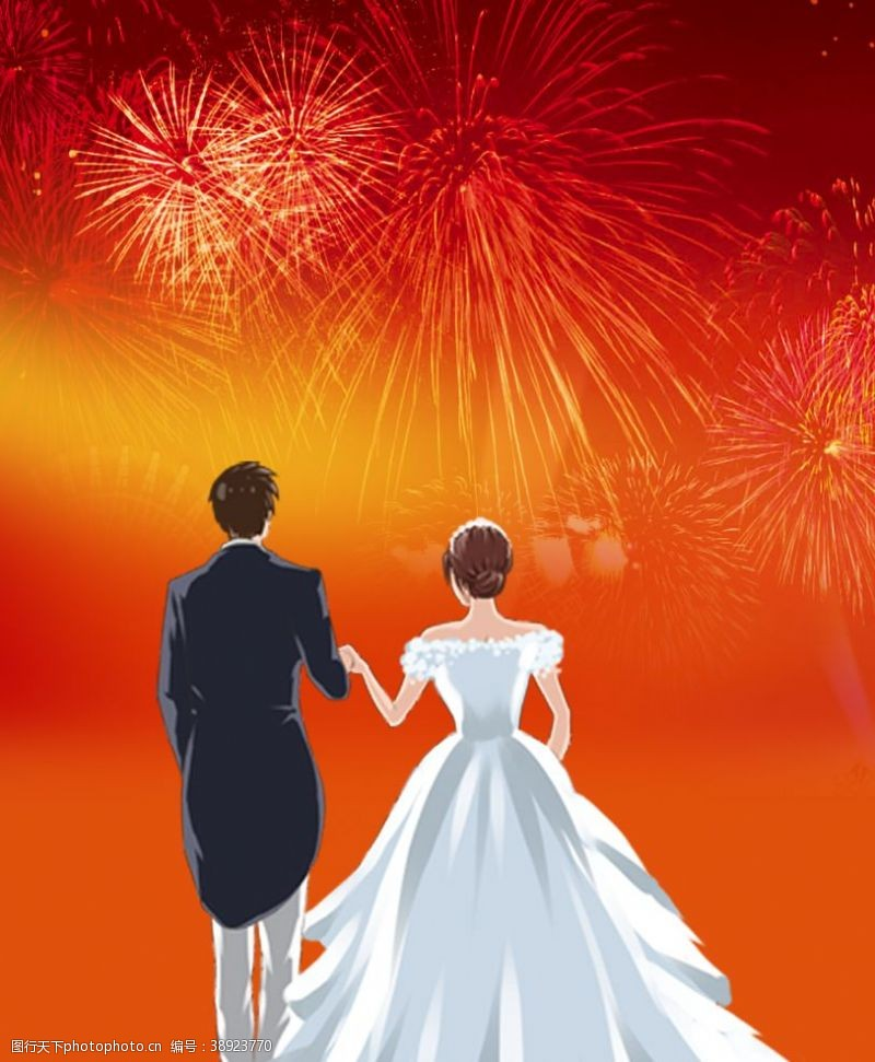 烟花 婚礼海报设计图片