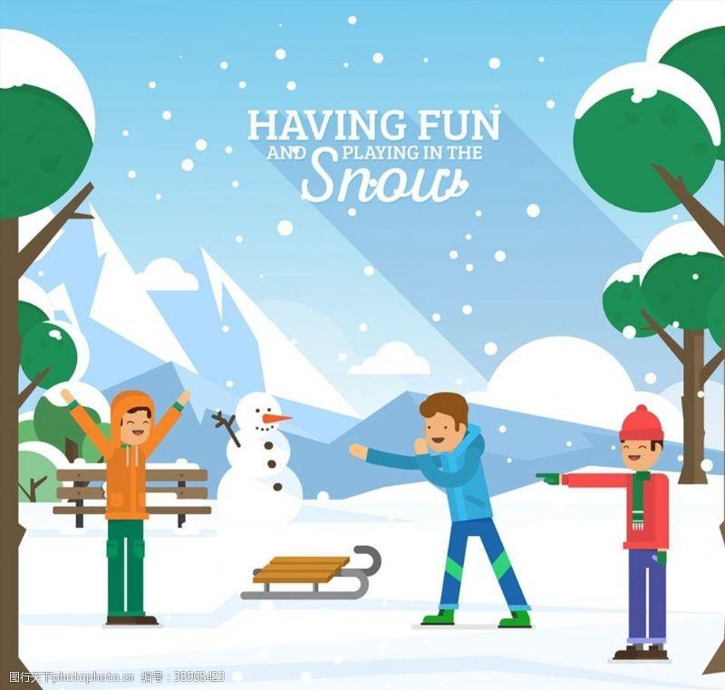 雪橇 雪地玩耍的男孩图片