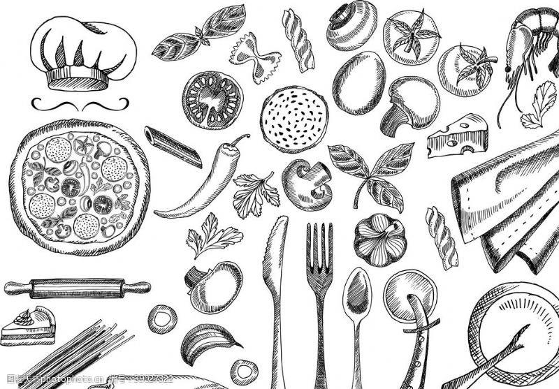 西餐餐具 餐具底纹素材图片