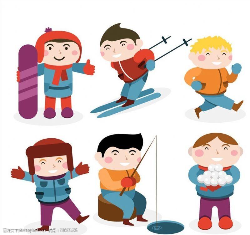 冬季运动男孩情景图片