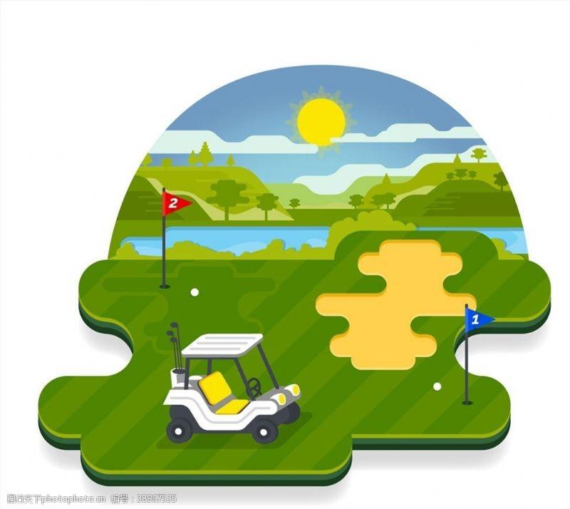 高尔夫车 高尔夫球场风景图片