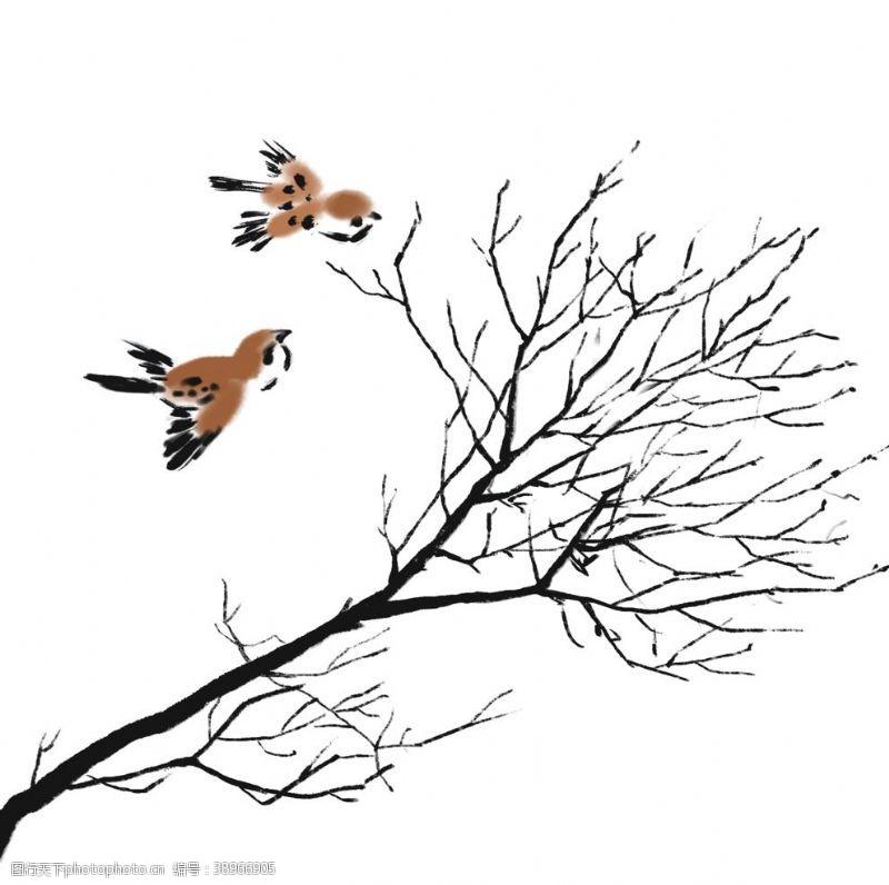 树枝小鸟 枯树枝小鸟图片