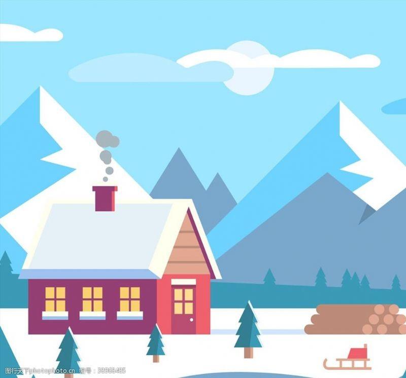 雪橇 雪山下的木屋风景图片