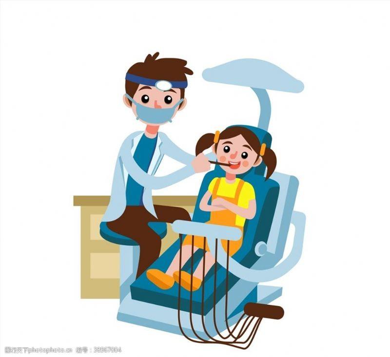 龋齿 治疗牙齿的女孩和牙医图片