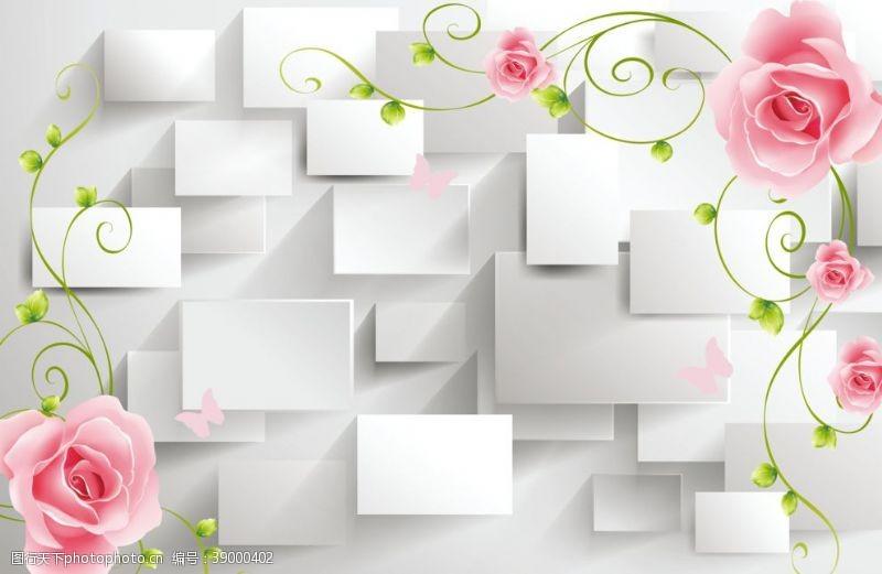 视觉效果设计 3D梦幻花卉电视背景墙图片