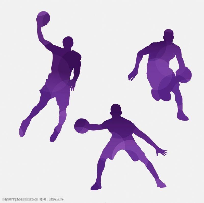 篮球剪影 篮球男子剪影矢量图片