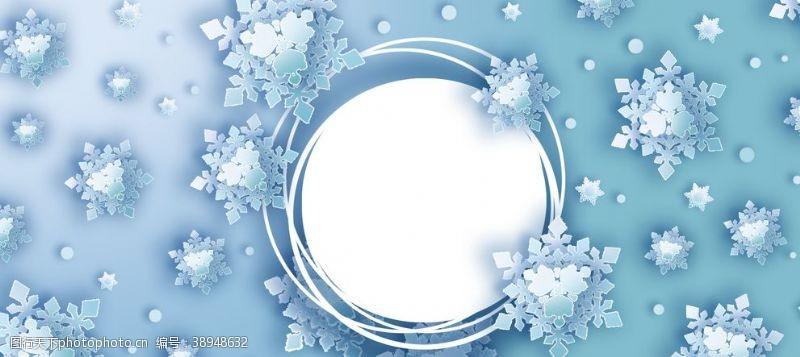蓝色渐变背景 蓝色渐变立体雪花圆框背景图片