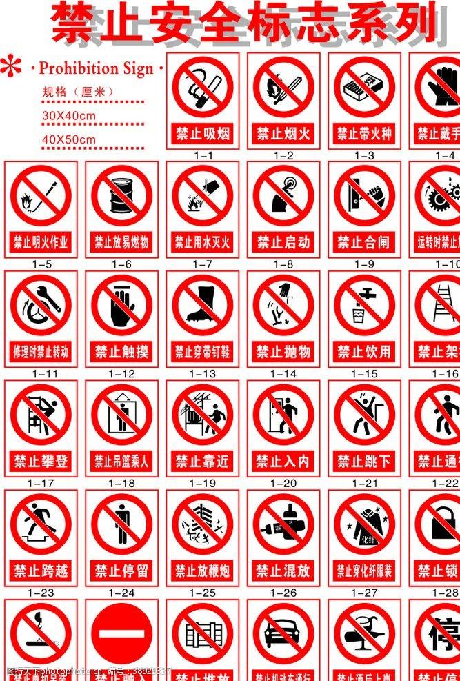 识别系统 禁止安全标志系列图片