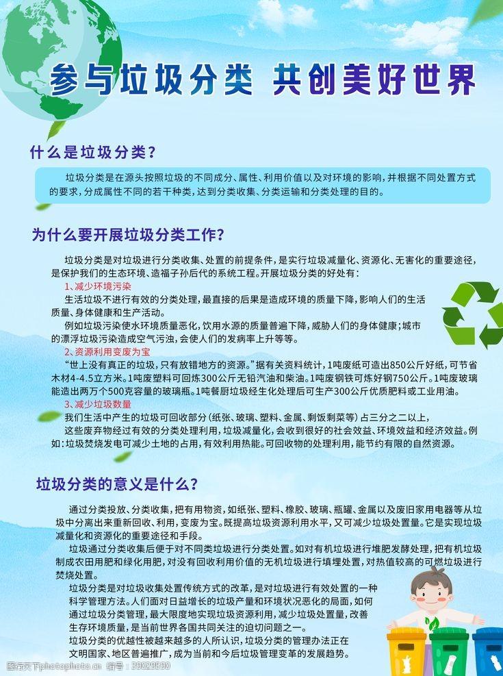 环境设计 垃圾分类问答宣传展板图片