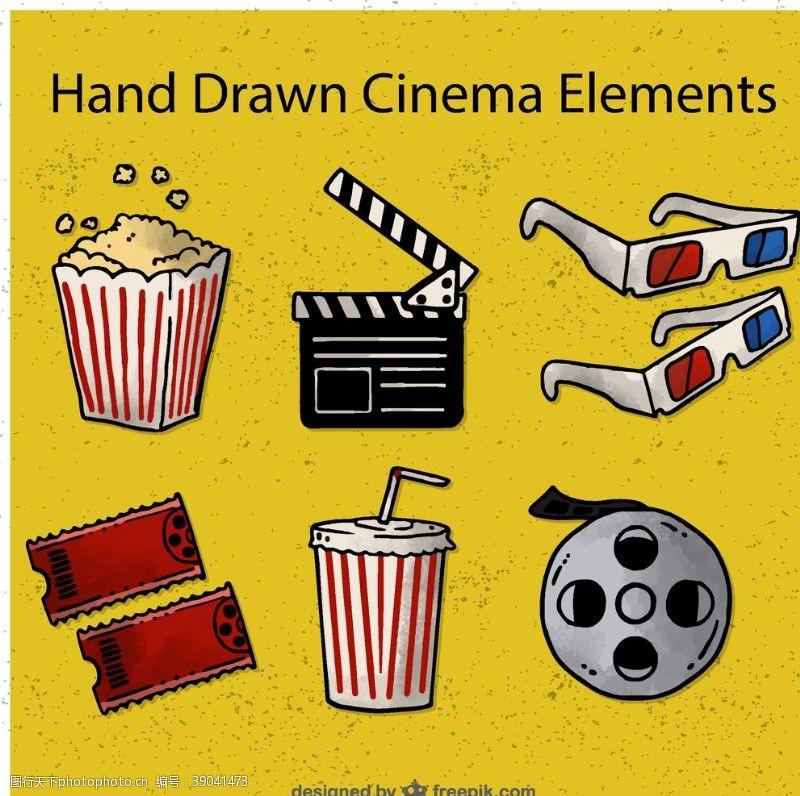电影胶卷 手绘电影院元素图片