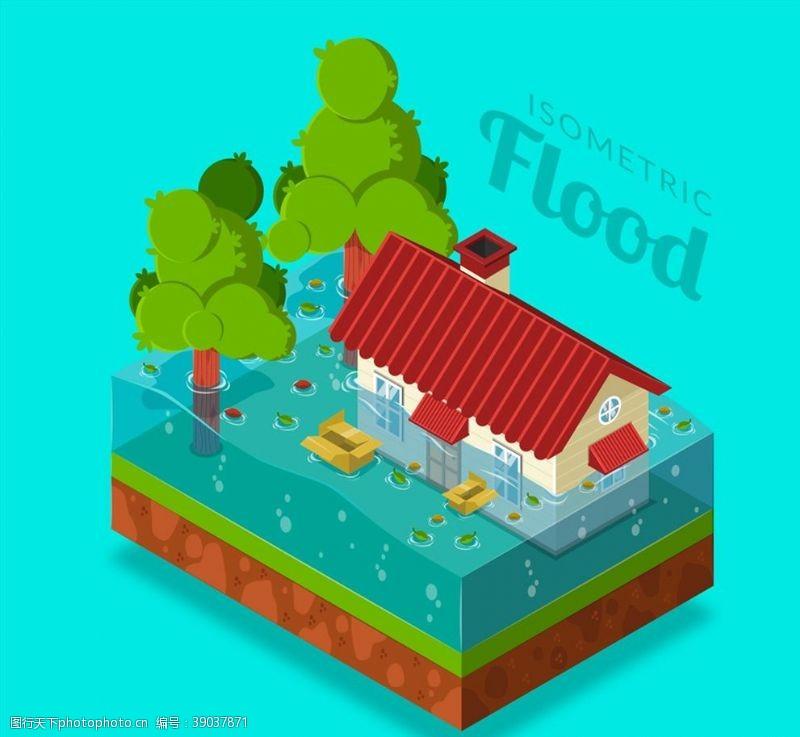 洪水 洪灾中的房屋图片