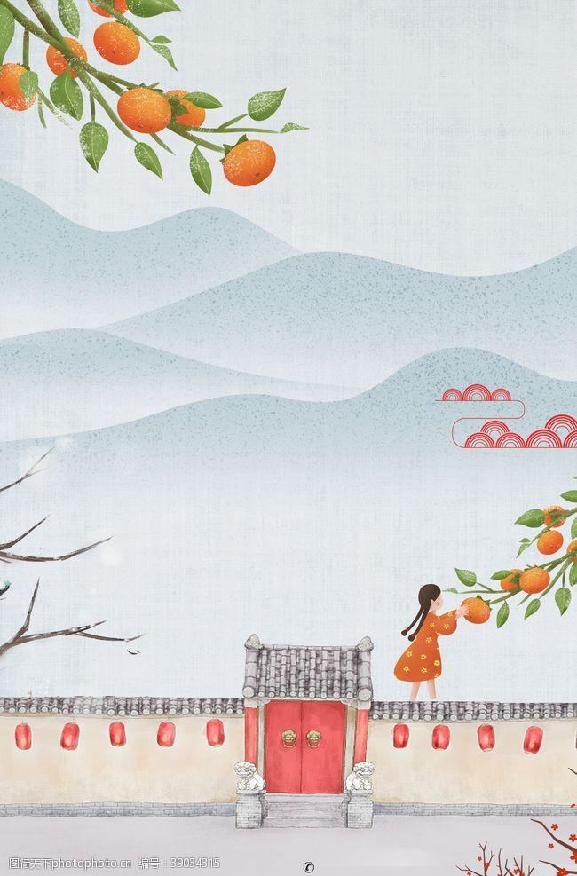 立秋秋分 围墙上摘柿子图片