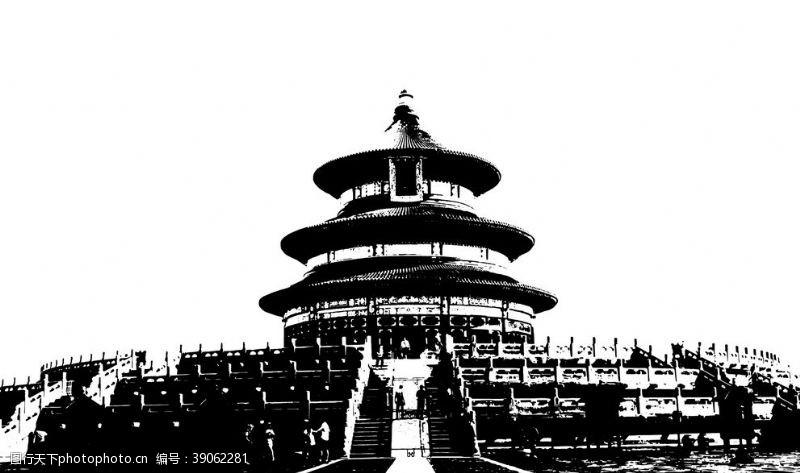 古代建筑矢量 北京建筑剪影图片
