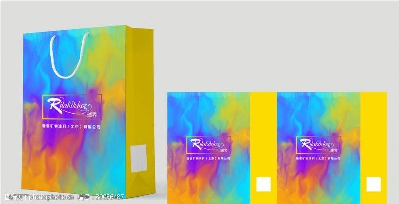 彩色手提袋 瑞客油漆包装展开图图片