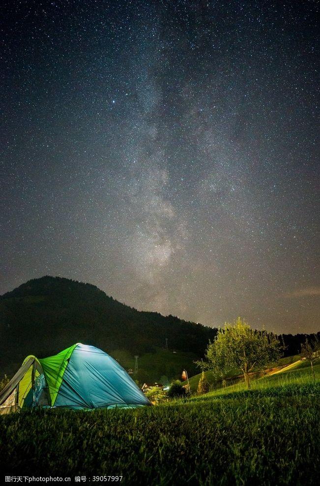 野外帐篷 星空图片