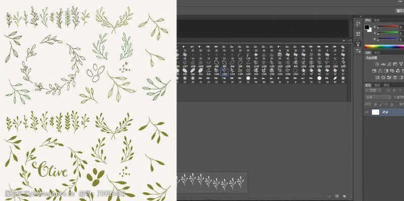 abr 笔刷橄榄树叶图片