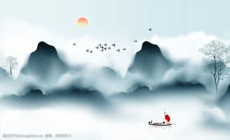 画卷 禅意山水风景画图片