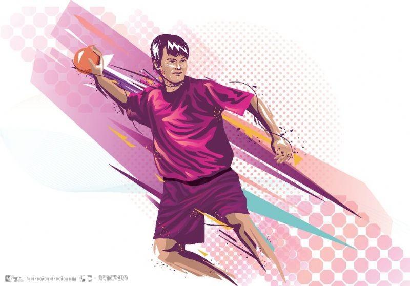 体育 打篮球人物卡通矢量图片