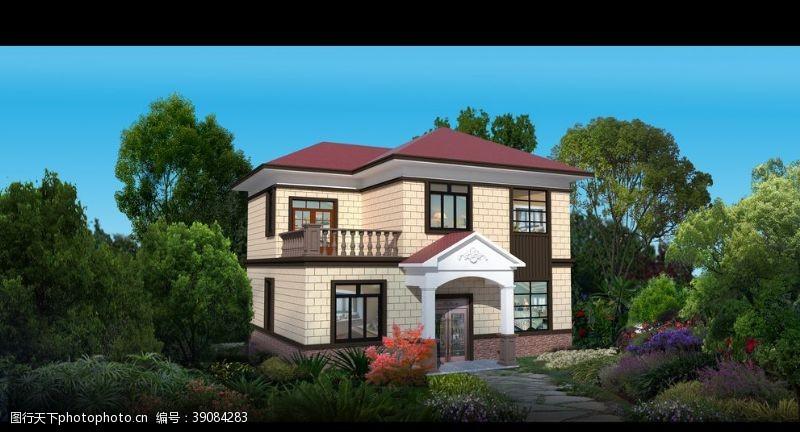 真石漆 二层现代别墅图片