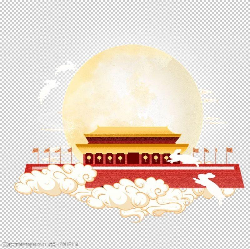 天安门 国庆中秋装饰元素图片