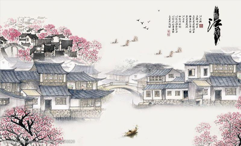 江南水乡梅花小船背景墙图片