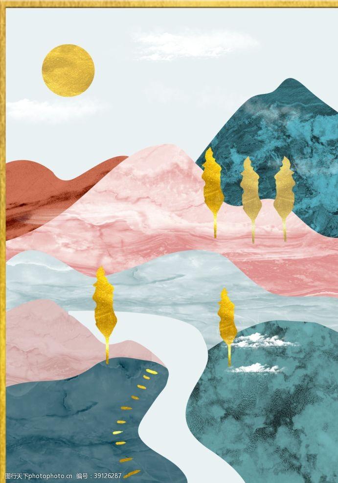 玄关山水 北欧山图片