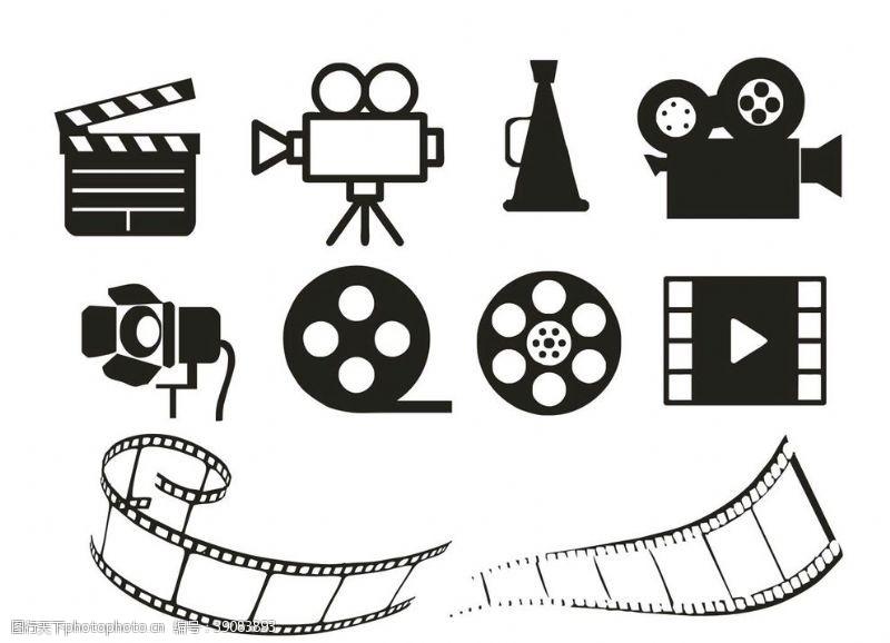 放映机 电影片场胶片道具矢量元素图片
