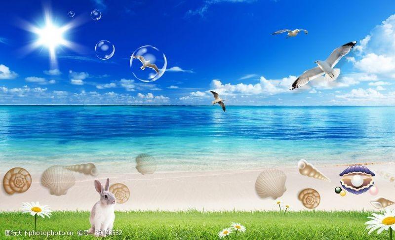 北欧 海边海滩贝壳风景背景墙图片