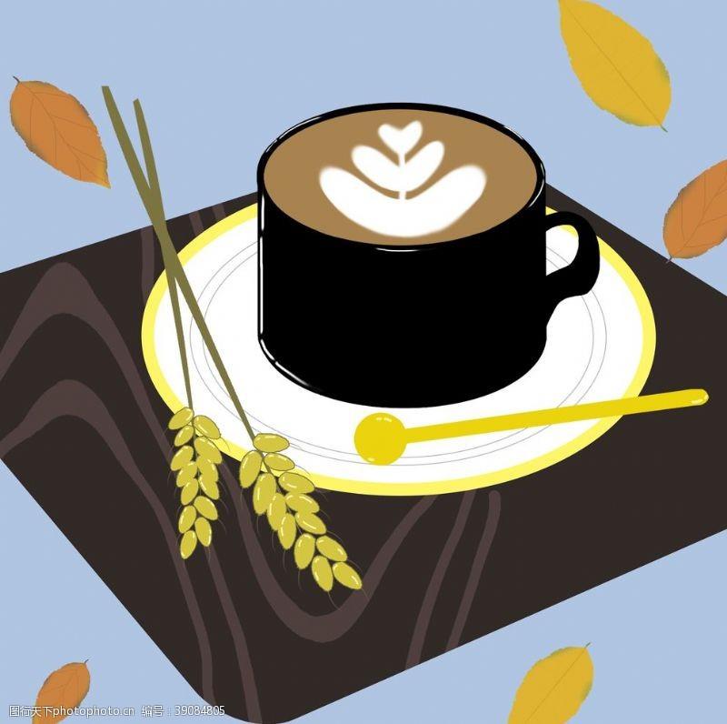 秋天插画 咖啡图片