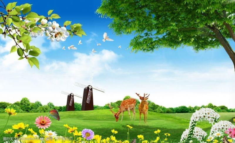 北欧 麋鹿风景背景墙图片