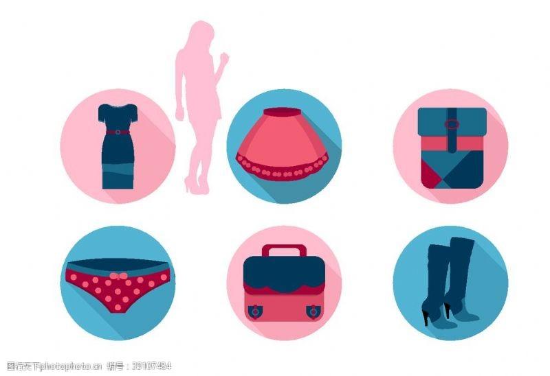 女性 女人衣服卡通矢量图片