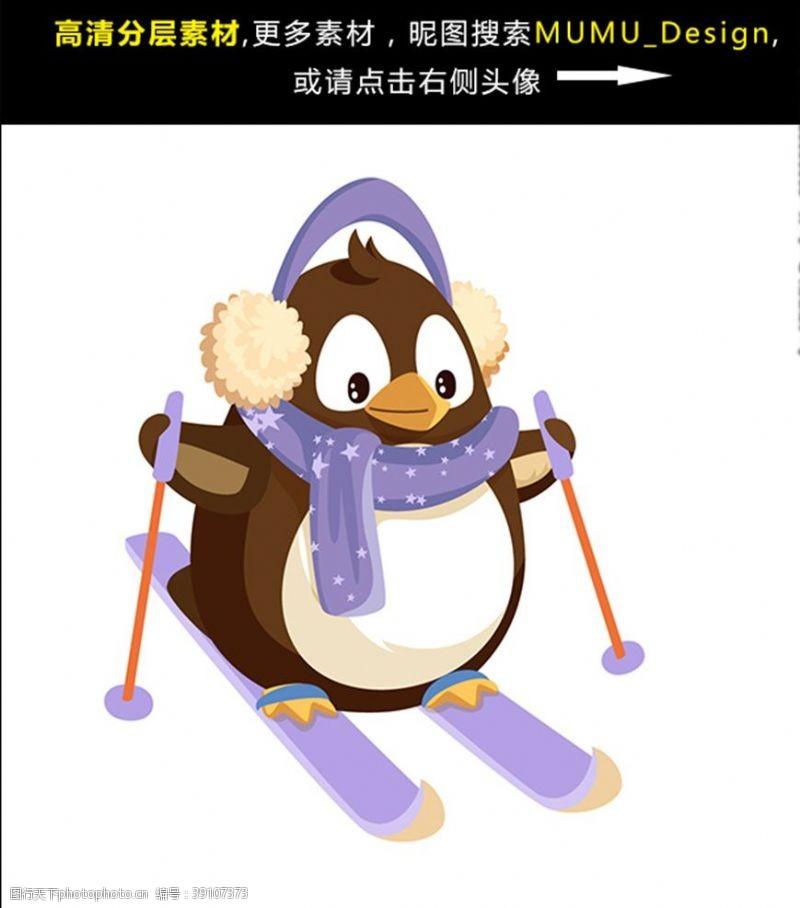 雪橇 圣诞节企鹅滑雪滑雪企鹅图片