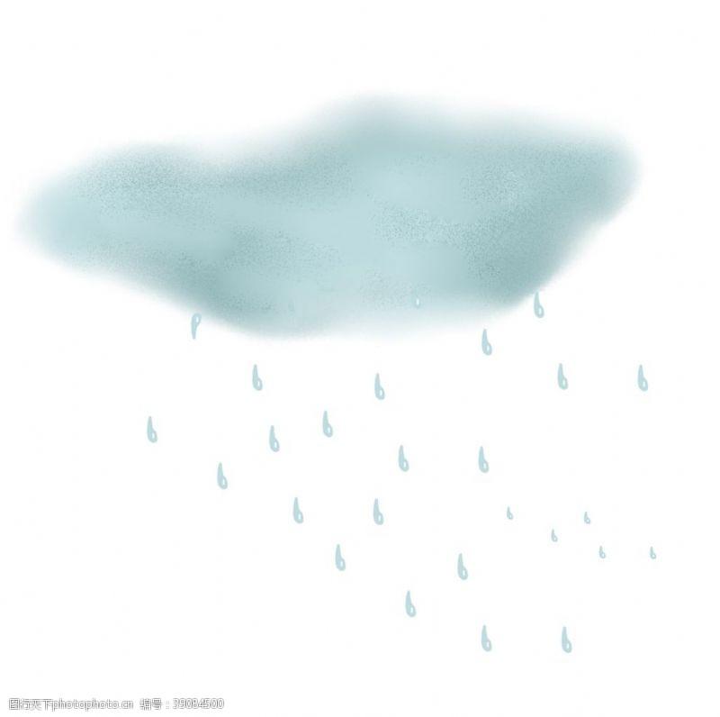 雷雨 手绘下雨元素图片