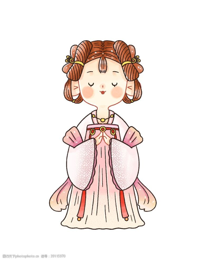 女性 水彩人物卡通插画图片