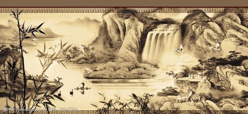 办公室设计 中式国画山水背景墙图片