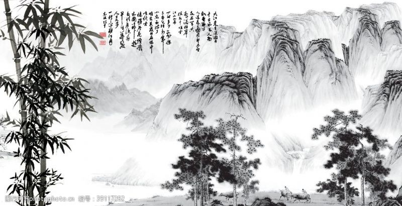 影视背景 中式国画山水图片