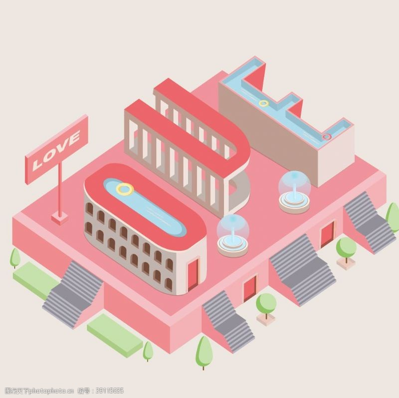 平面 2.5D建筑插画图片