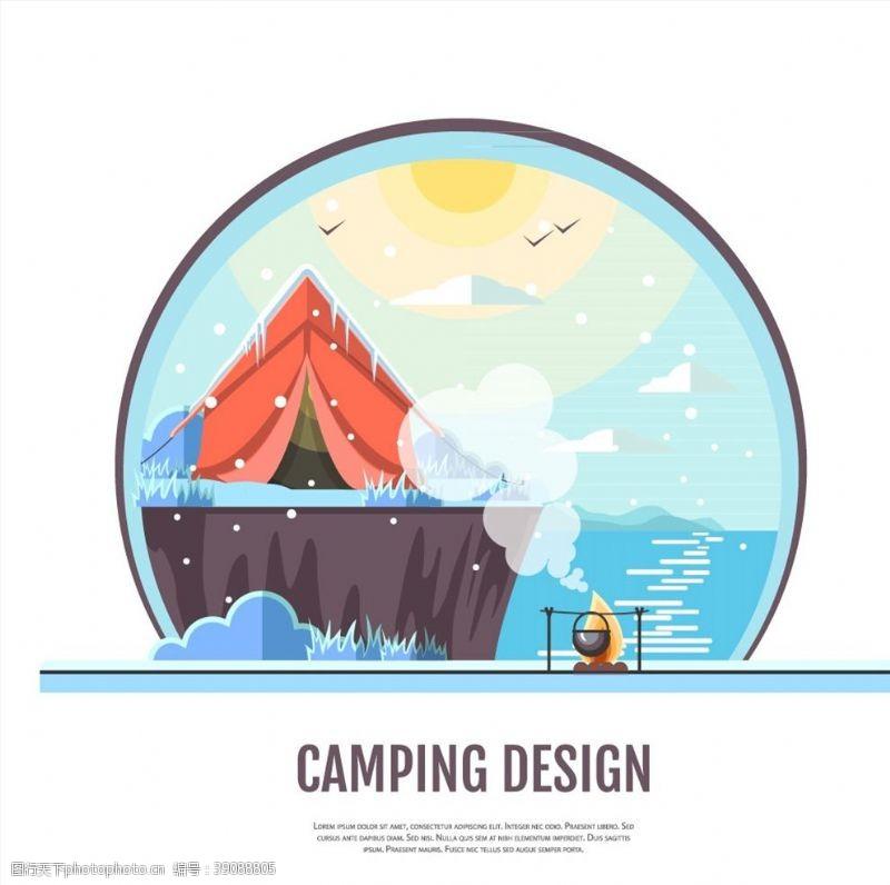 海边礁石上的露营帐篷图片
