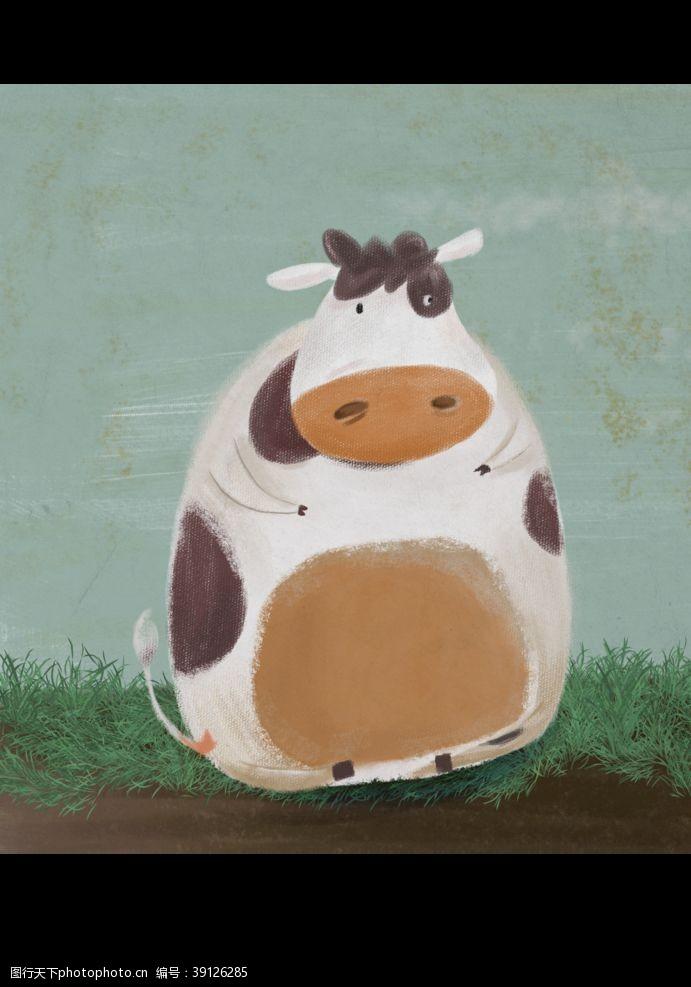 北欧素材 卡通牛图片