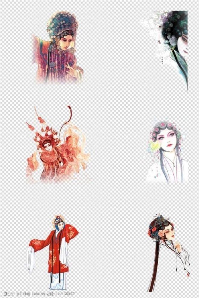 免抠图中国古风戏曲手绘人物图片